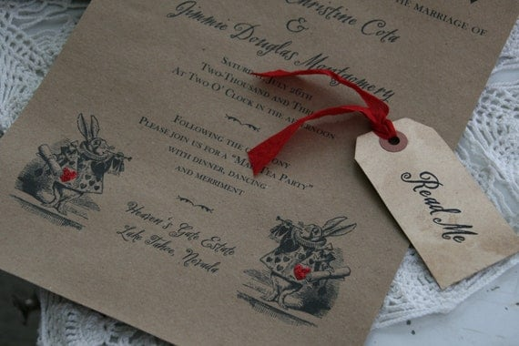 Alice In Wonderland WEDDING INVITATION Scroll Wedding