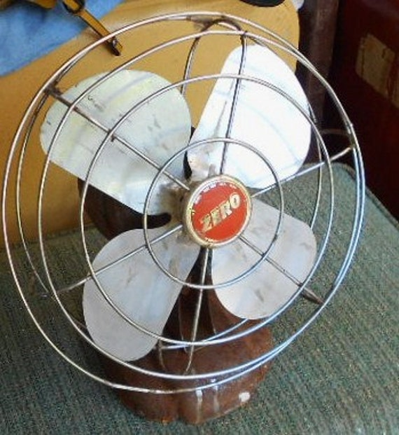 VINTAGE ELECTRIC FAN, Funky, rusty, crusty, industrial chic, Zero, usa made, shabby patina