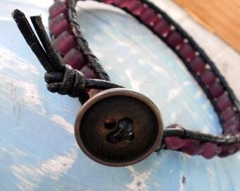 Purple Haze - Beaded Leather Wrap Bracelet