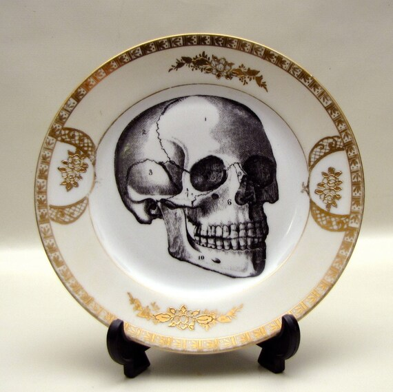 1920s Black Skull and Gold trim Altered vintage plate Halloween home decor on Vintage Antique china