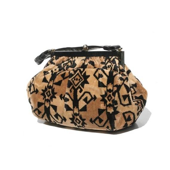 Vintage Tan & Black Carpet Handbag