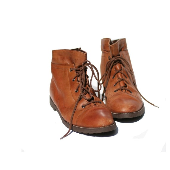Brown Leather Ankle Boots size 9