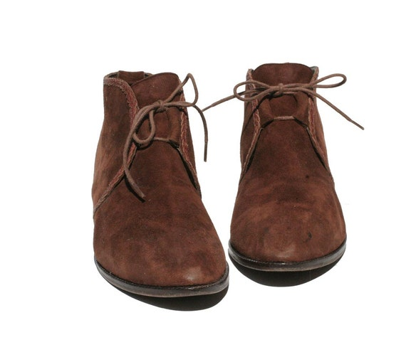 Italian Brown Suede Leather Ankle Boots size: 7.5