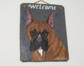 Boxer Dog Welcome Slate (Fawn with Black mask and cropped ears)