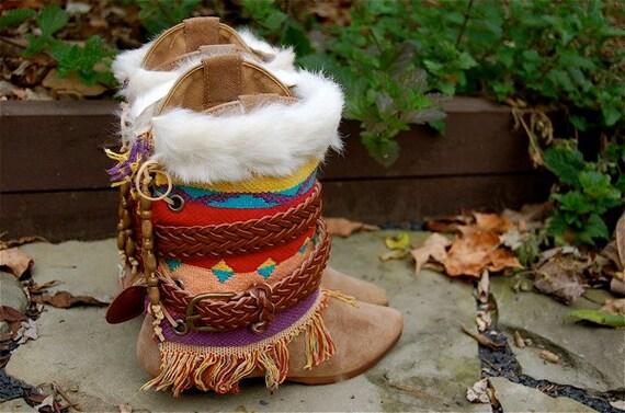 Boho Tribal Fringe Blanket Boots Native American Indian Boho