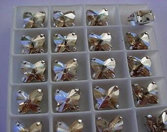 Lot of 4 10mm Golden Shadow Butterfly  Swarovski Rhinestones in silvertone Sew on Settings
