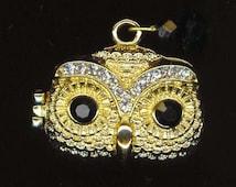 Gorgeous Rhinestone Owl Locket Ring.Poison Ring .Halloween.Cocktail Ring .Adjustable Statement Ring- Wisdom Effect  by enchantedbeas on Etsy