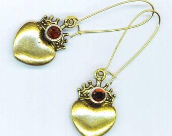 Crown & Heart Earrings . Antique Bronze/Silver Ox Crown . Heart Charm Earrings . Caramel Rhinestone Earrings- Mother's Day by enchantedbeas