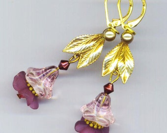 Violet Flower Earrings . Pink Lilac Lucite . Glass Bell . Vintage Golden Leaves . Amethyst  - Make me Beautiful  by enchantedbeas on Etsy