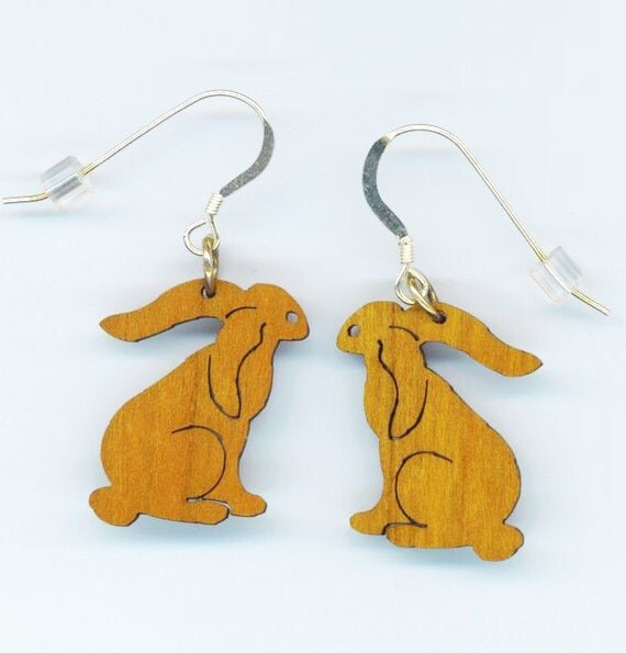 Vintage Carved Wood . Cute Rabbit Earrings . Easter Bunny . Sterling Silver French Ear-wires - Bunny Rabbit by enchantedbeas on Etsy