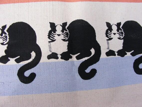 Vintage CAT STENCIL DHURRIE Rug