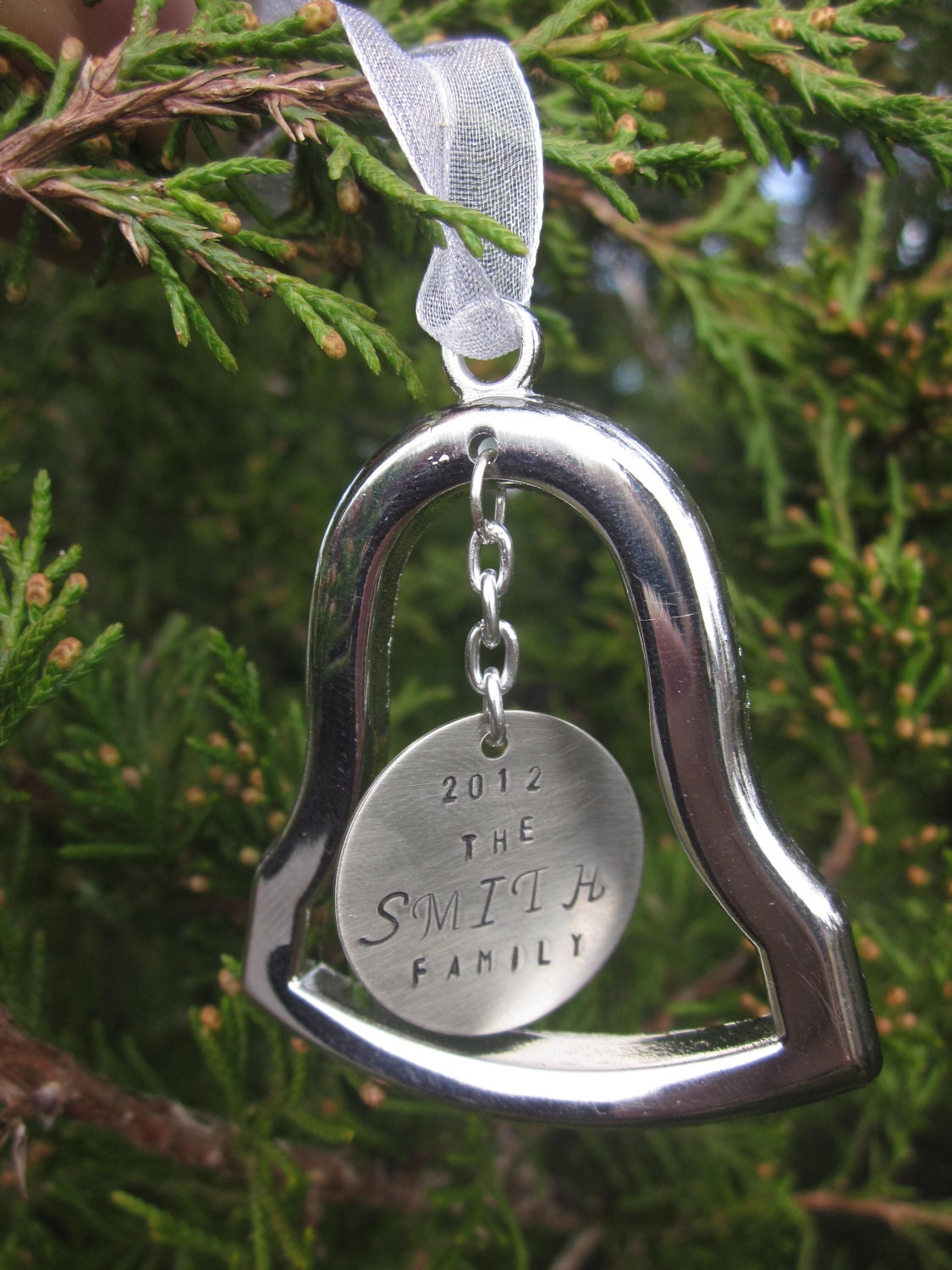 Personalized silver bell christmas ornament family name tree
