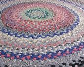 vintage c. 1970s round braided rag rug