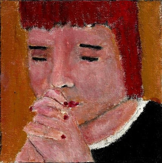 6x6 Acrylic Portrait Prayer Painting Religious Spiritual Little girl praying Hands clasped Yellow background Original painting no 4