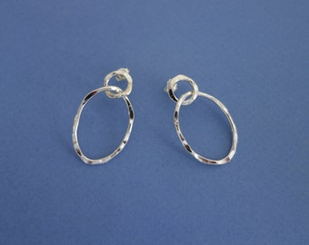 Hammered Silver Oval Post Earrings