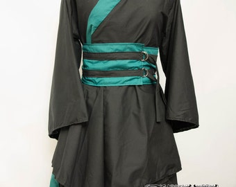 Custom Black X Forest Asymmetric Kimono Dress
