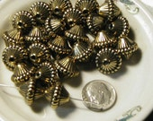 Antiqued Gold Brass Metalized Plastic Beads - 25 pcs