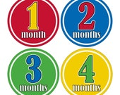 12 Monthly Baby Milestone Waterproof Glossy Stickers - Just Born - Newborn - Weekly stickers available - Design M003-06