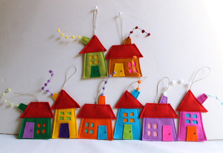 Casa ornamenti decorazione set di otto house di feltro di for Ornamenti casa