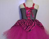 Wild Zebra Monster High tutu dress, Apron and matching tights 3pc set  - Perfect for Birthday, Halloween Costume - fits girls size 2-4T