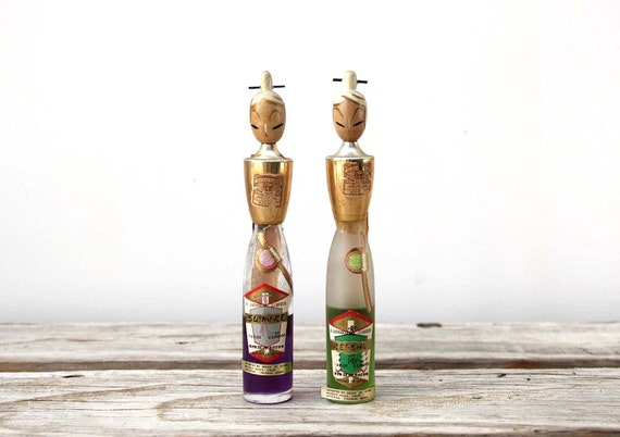 Unique Pair of Vintage Kokeshi Doll Bottles