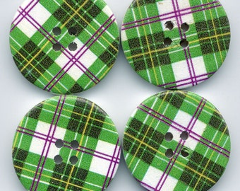 Green Plaid Buttons Decorated Funky Wooden Buttons 30mm (1 1/4 inch) Set of 4 /BT12