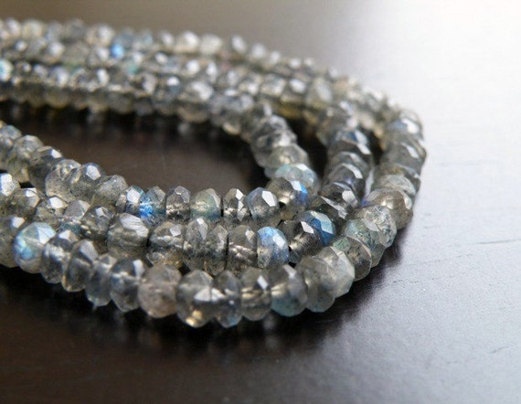 Labradorite Gemstone Rondelle AAA Grey  Faceted Beads 3.5mm 1/2 Strand 60 beads