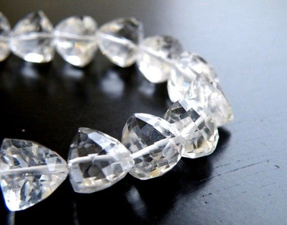 Quartz Gemstone Briolette AAA Rock Crystal Fancy Faceted Trillion Cut Drop Center Drilled 7mm 1/2 Strand 20 beads