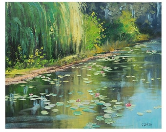 LILY POND PAINTING impressionist Paintings Original Oil Landscape by listed artist  Graham Gercken