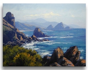OREGON BEACH PAINTING  on Canvas Impressionist Seascape by g.Gercken