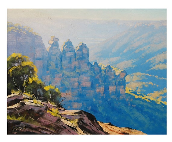THREE SISTERS Painting Blue Mountains Painting Australian PAINTING Original Oil Landscape  Impressionist Art by Graham Gercken
