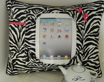 Zebra iPad Tablet Pillow Stand in Black and White