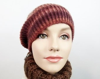 Hand Knit Hat - Slouchy Cloche in SW Canyon Colors Size Adult Sm/Med - Item 1242