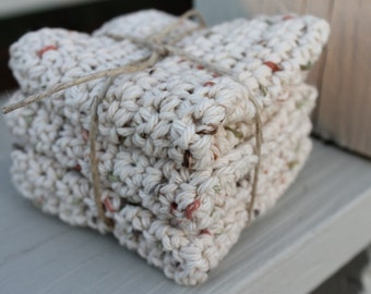 Crochet All Cotton Dishcloths House Warming Gift Baby Shower Made to Order