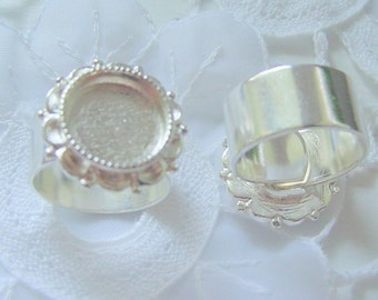 2 Ring Blanks Wide Band Ornate Circle Sterling Silver Plated (No. ND219A) Made in the USA