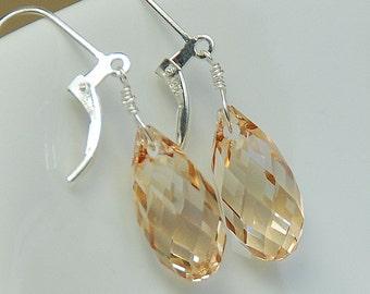 Crystal Golden Shadow Earrings, Single Crystal Drop, Crystal Earrings, Wedding Jewelry, Swarovski Crystal in Sterling Silver, Dangle Earring