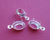 8x6mm Sterling Silver Plated Brass 1 Ring/Loop Oval Open Back Settings for Rhinestone Jewels or Cabs (12 pieces)