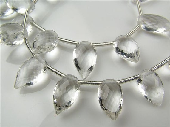 Crystal Quartz Fancy Cut Briolettes, AAA, Faceted, 10.5-13mm (ET429)