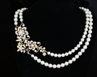 Gold Wedding Necklace White Ivory Pearl Statement Bridal Necklace Crystal Flower Double Strand Wedding Jewelry SABINE GRAND NECKLET