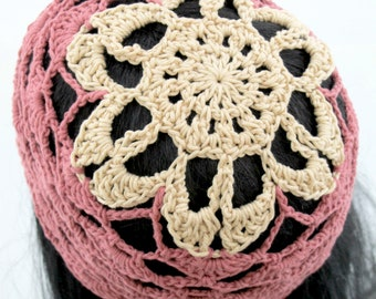 Crocheted Flower Mesh Hat. Adult. Beanie.