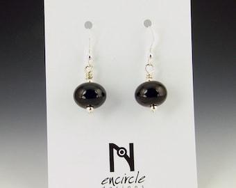 Black Hollow Lampwork Earrings
