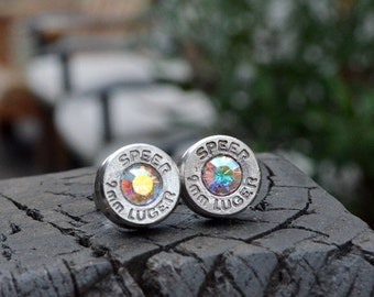 Bullet Earrings stud earrings or post earrings Speer 9mm Luger earrings silver earrings bullet jewelry with Swarovski crystal centers