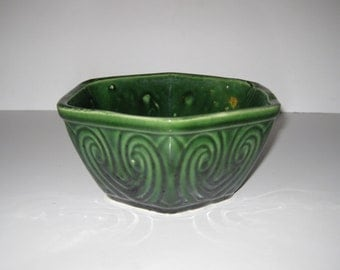 Vintage Dark Green Hexagon Ungemach Pottery Planter