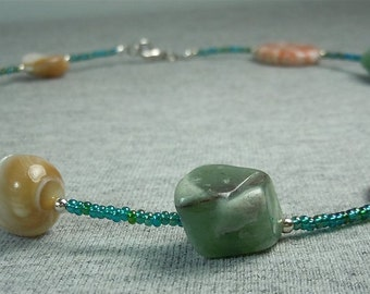 Gemstone and Glass Bead Necklace - CLEARANCE