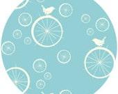 Jay-Cyn Designs for Birch Fabrics, Mod Basics, Organic, Birdie Spokes Pool, 1 YARD