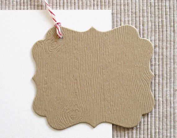SALE - 8 Woodgrain Christmas Gift Tags - Kraft Gift Tags (Set of 8)
