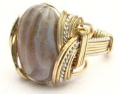 Handmade Wire Wrap Sterling Silver/14kt Gold Filled Botswana Agate Ring