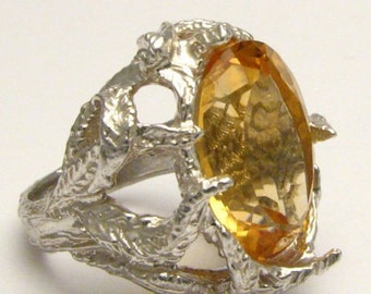 Handmade Sterling Silver Faceted Yellow Citrine Ring