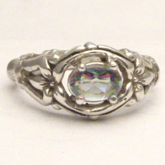 Handmade Sterling Silver Mystic Topaz Gemstone Bone Ring