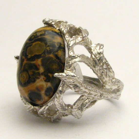 Handmade Solid Sterling Silver Leopard Skin Cabochon Gemstone Statement Ring